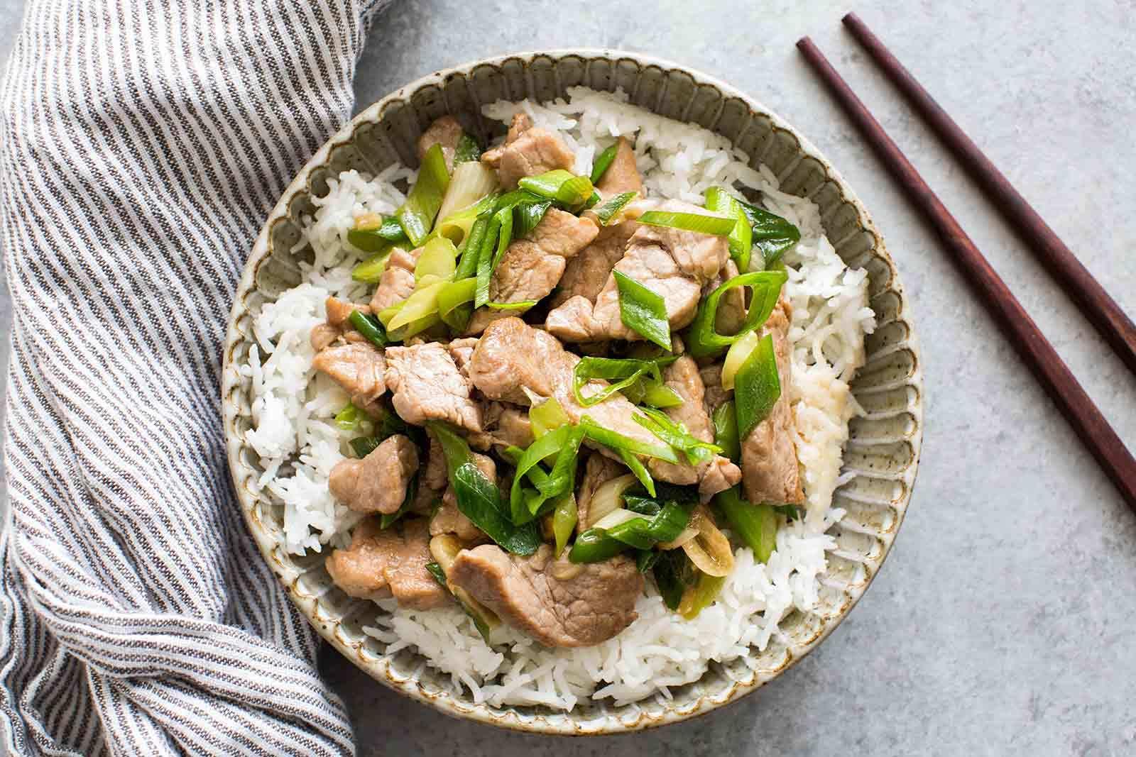 Pork Stir Fry with Green Onion Recipe | SimplyRecipes.com