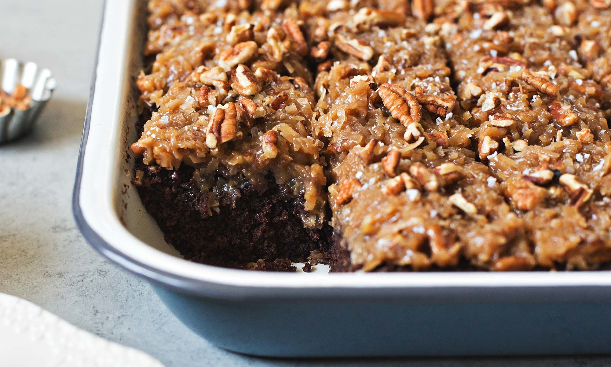 German Chocolate Sheet Cake With Coconut-Pecan Frosting Recipe | SimplyRecipes.com