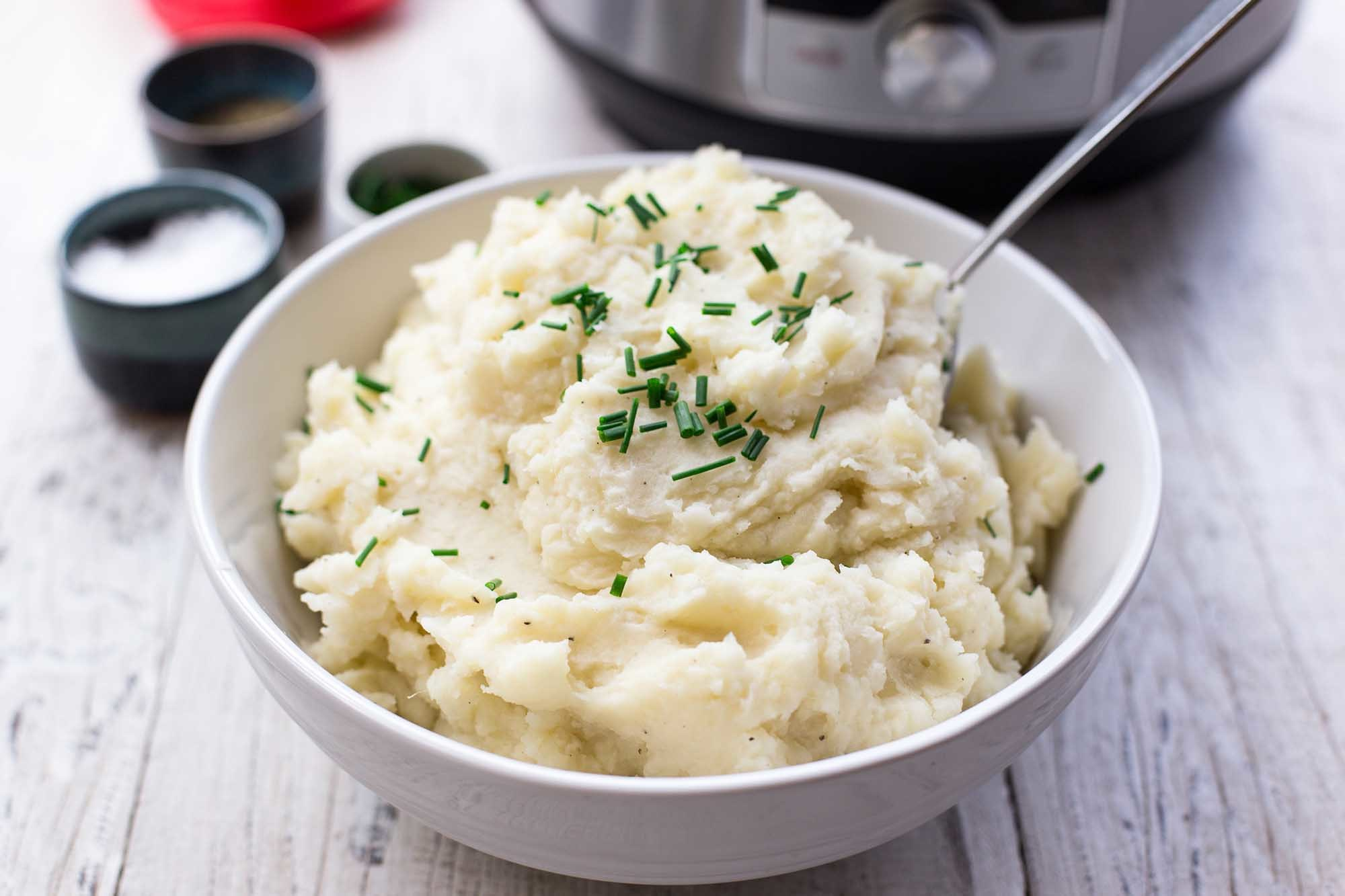 Pressure Cooker Garlic Mashed Potatoes Recipe | SimplyRecipes.com