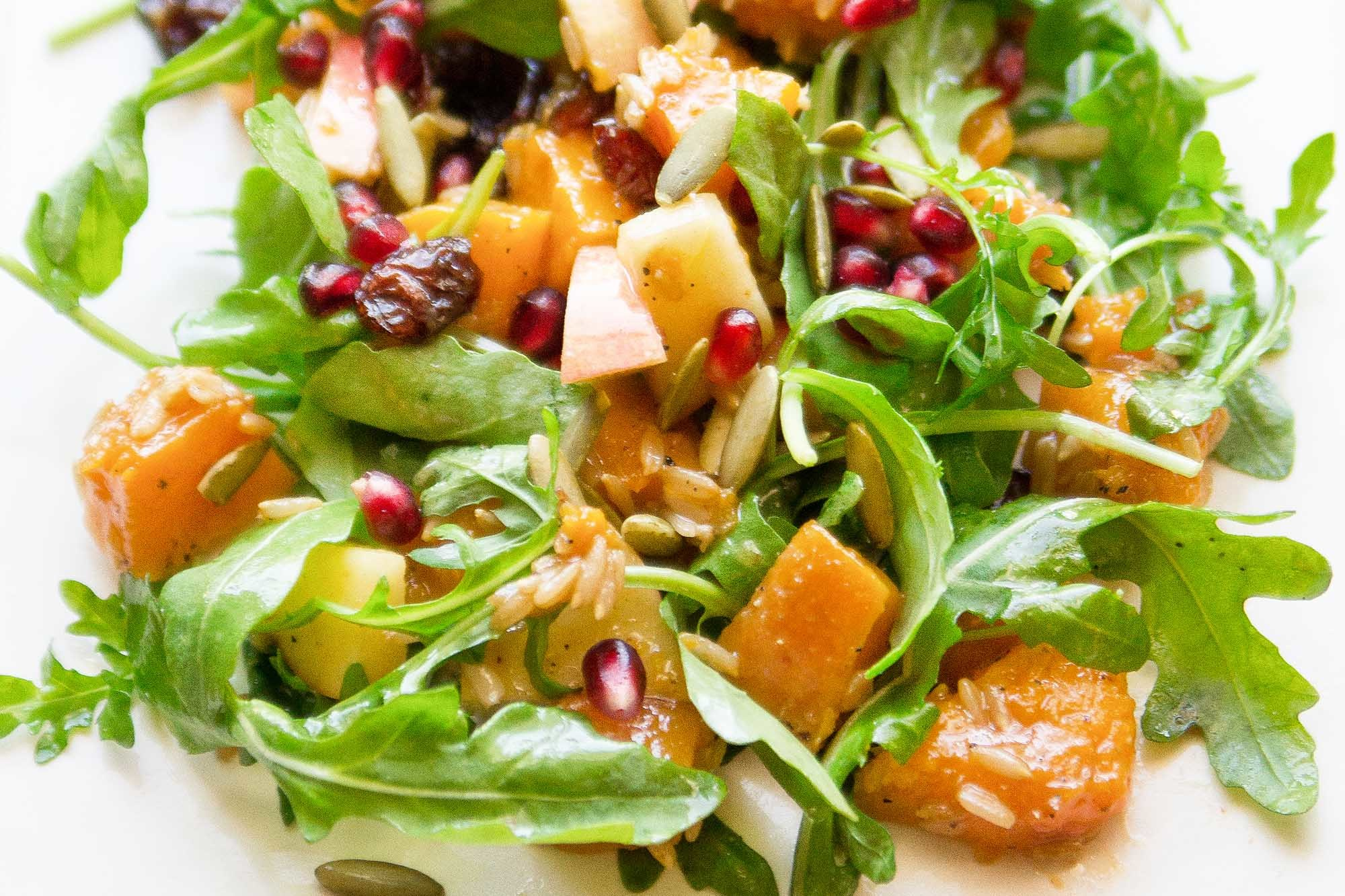 Harvest Salad with Miso-Maple Roasted Butternut Squash Recipe | SimplyRecipes.com