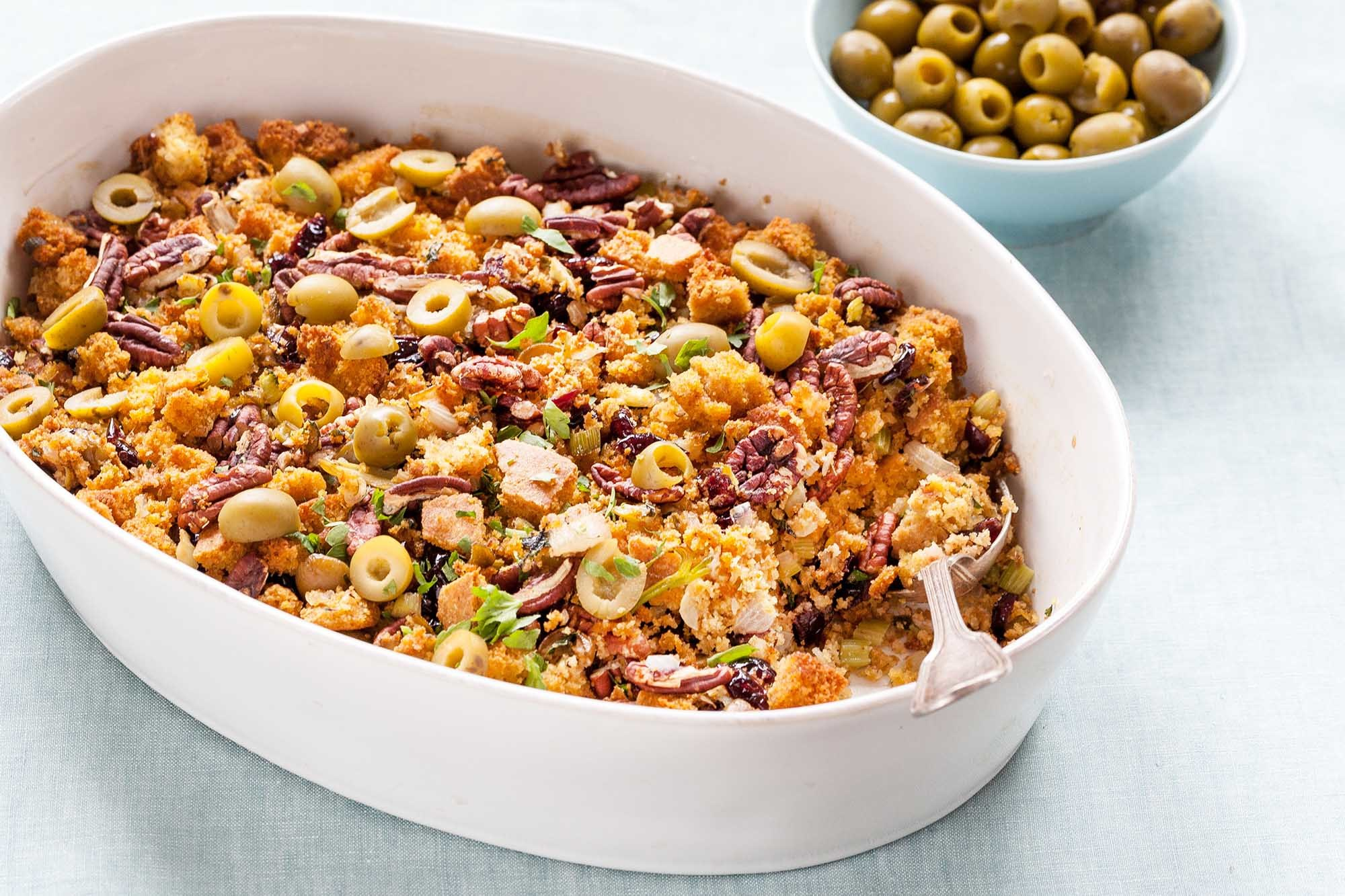 Cornbread Stuffing with Green Olives and Pecans Recipe | SimplyRecipes.com