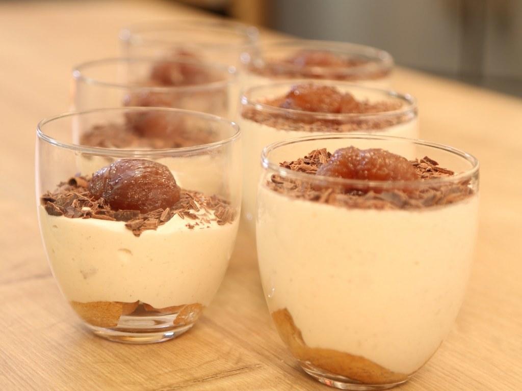 Tiramisu à la crème de marron et marrons glacés