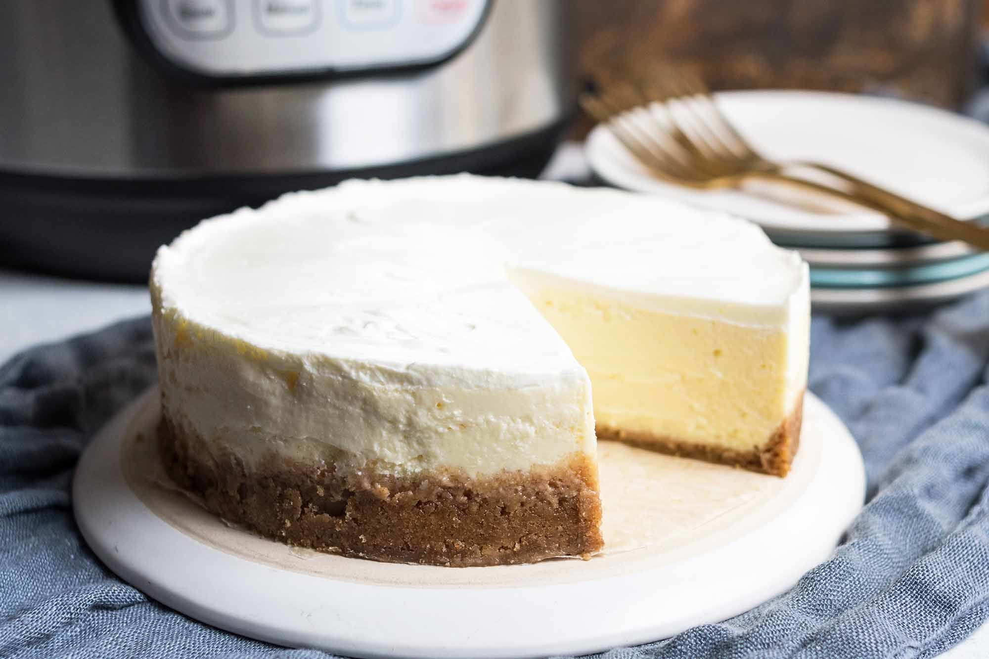 Pressure Cooker Cheesecake + First Look at The Essential Instant Pot Cookbook | SimplyRecipes.com