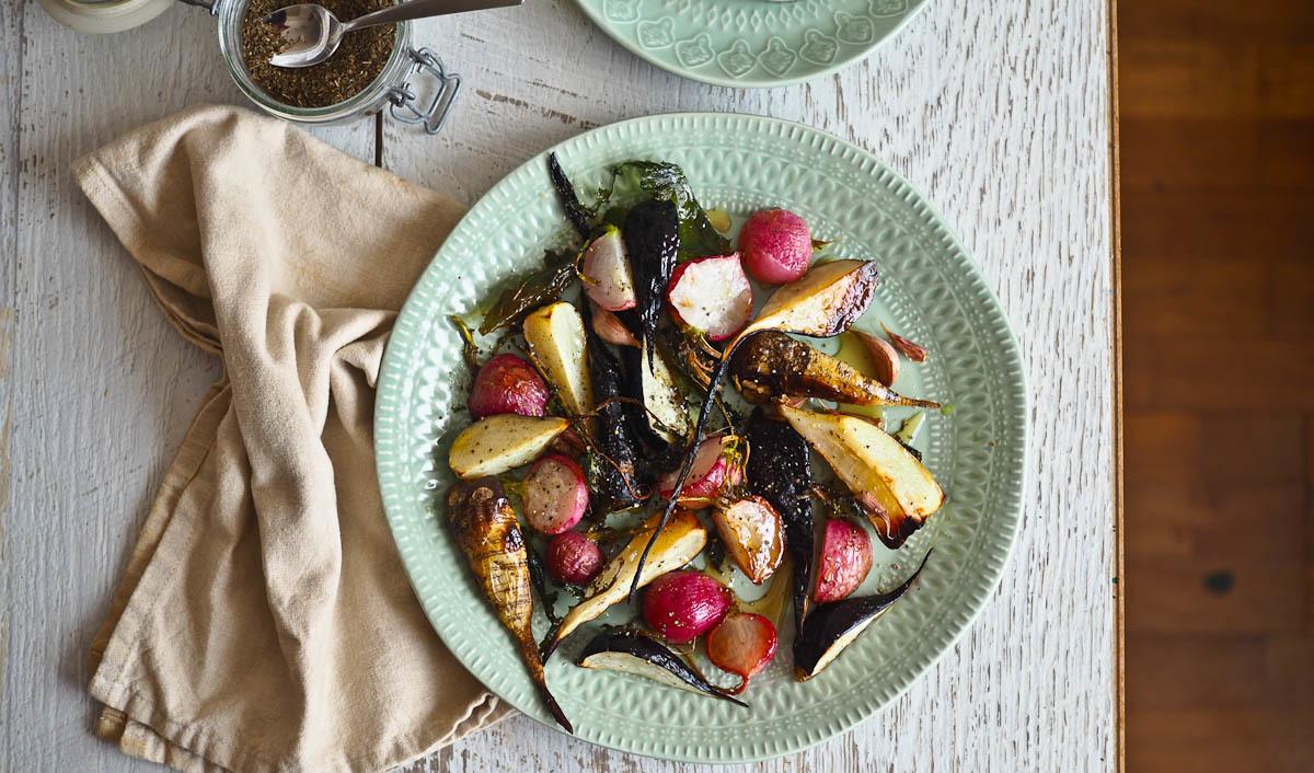 Honey, Garlic & Black Pepper Roasted Radishes
