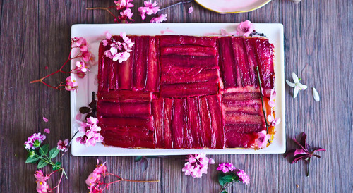 Geometric upside down rhubarb ginger cake