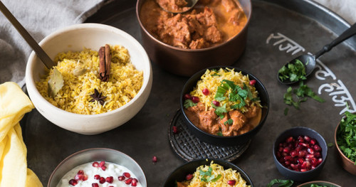 Murgh makkhani indisches butterhuhn kraut und ruben