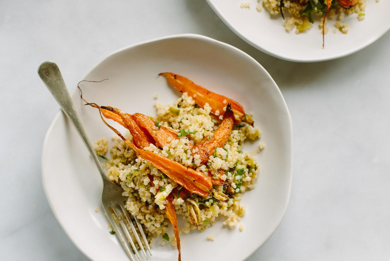 roasted baby carrot, leek + quinoa salad