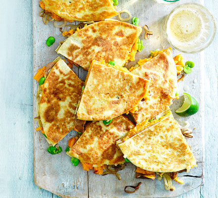 Sweet potato & shallot quesadillas | BBC Good Food