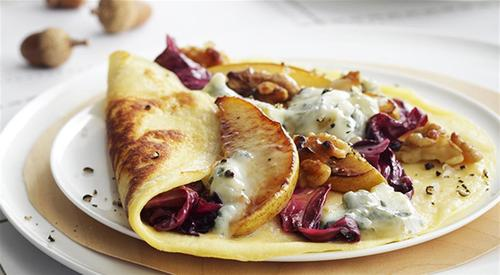 Crepes with gorgonzola pear radicchio and walnuts