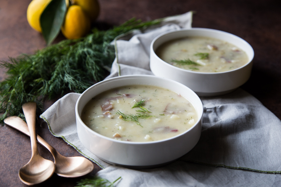 Rustic Cream of Potato Soup with Lemon and Dill | Fake Food Free