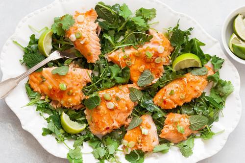 Slow roasted salmon with sweet chili glaze and scallions recipe simplyrecipes.com