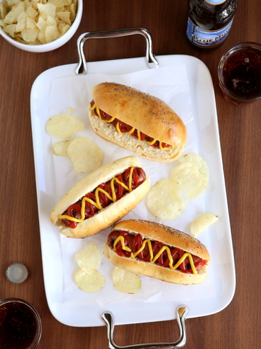 Homemade hot dog buns completely delicious