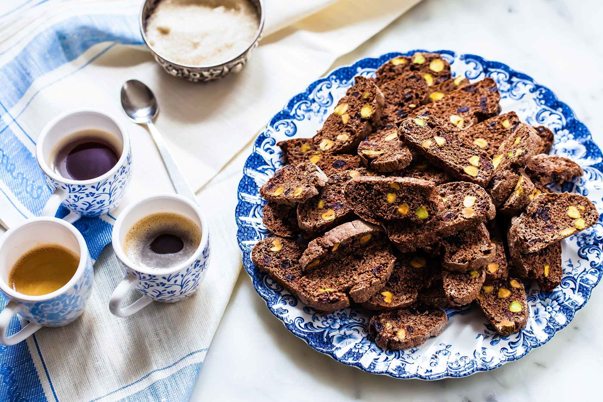 Cranberry Pistachio Chocolate Biscotti Recipe | SimplyRecipes.com