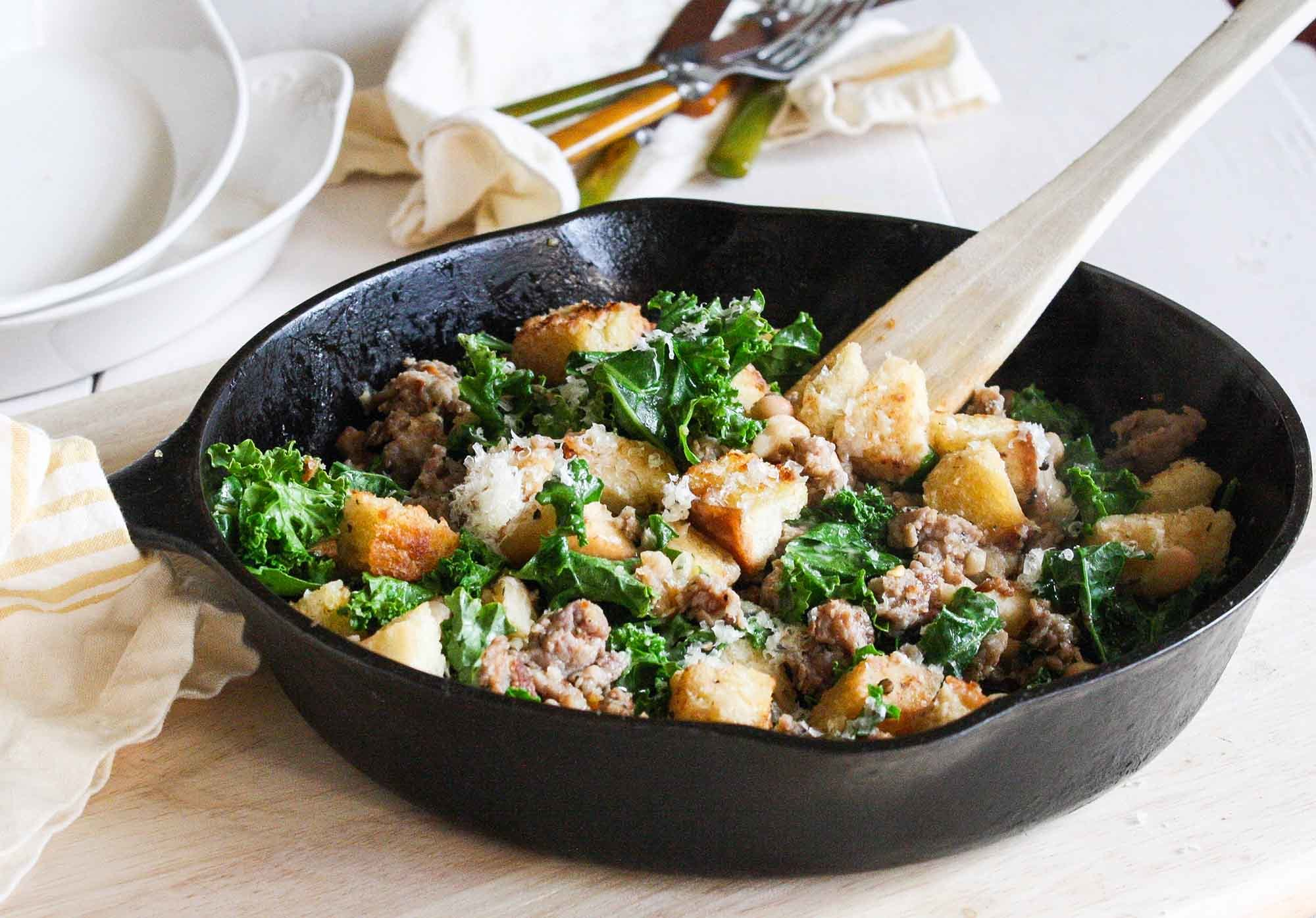 Quick Sausage, Kale, and Crouton Sauté from Smitten Kitchen Every Day Recipe | SimplyRecipes.com