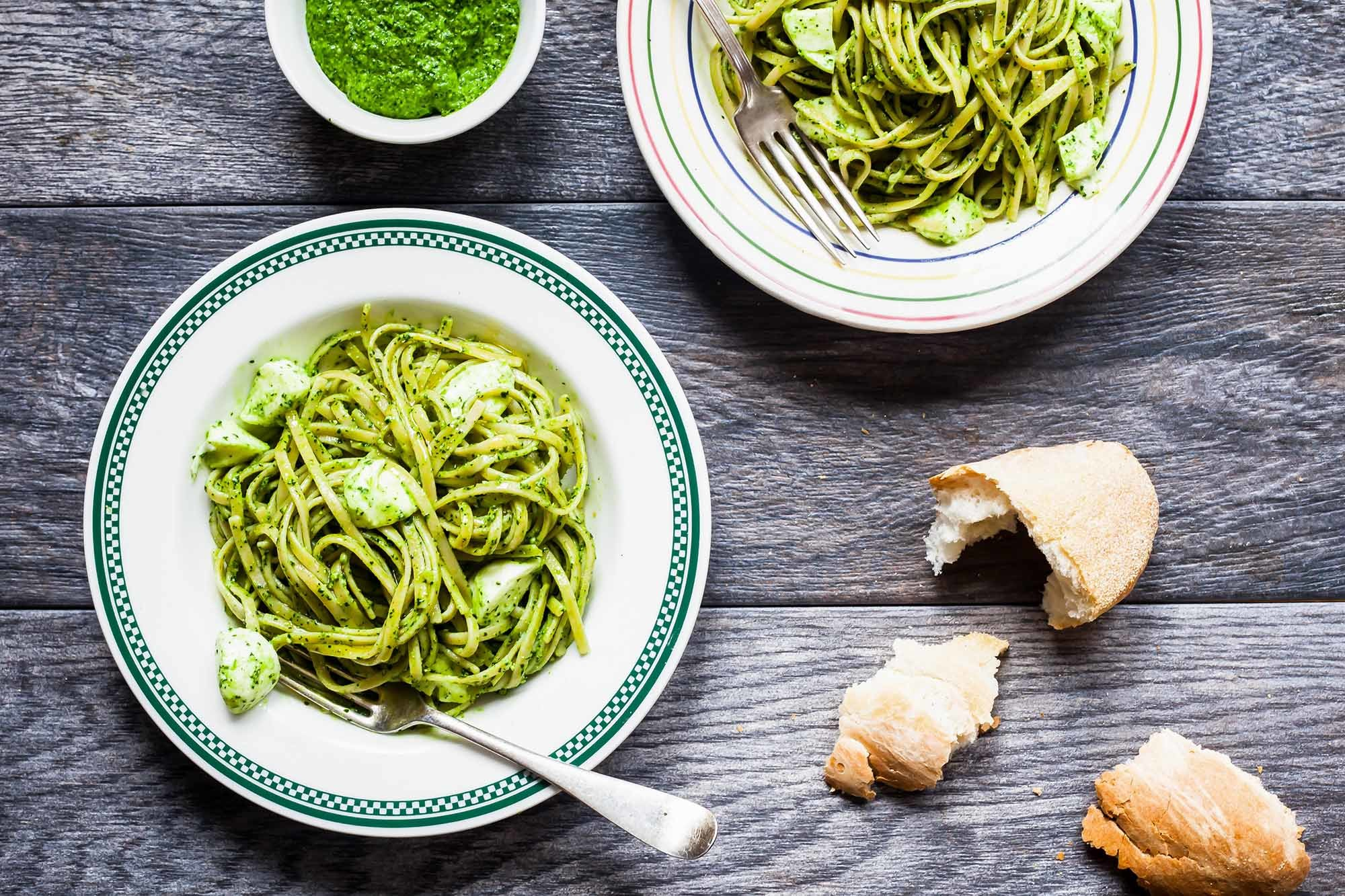 Whole Wheat Pasta with Kale Pesto Recipe | SimplyRecipes.com
