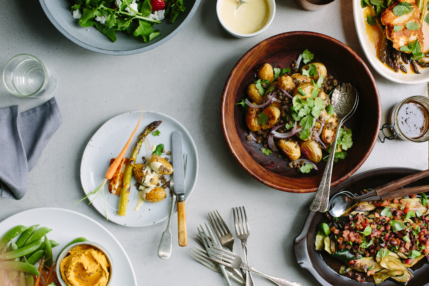 Roasted potato salad with lentils + curried yoghurt dressing