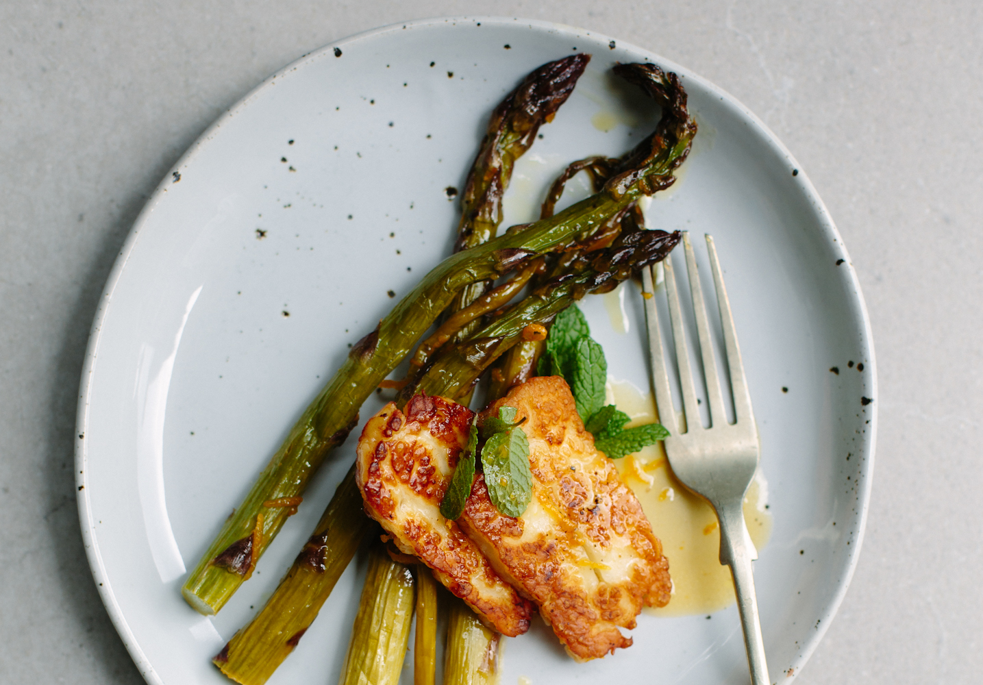 orange-roasted asparagus with halloumi + mint