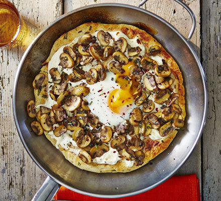 Frying pan pizza bianco with mushrooms & egg | BBC Good Food