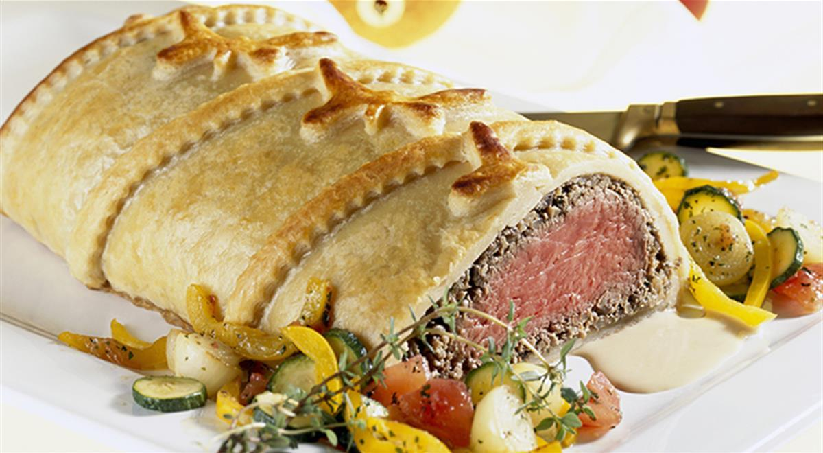 Fillet Wellington with mixed Vegetables (gluten free)