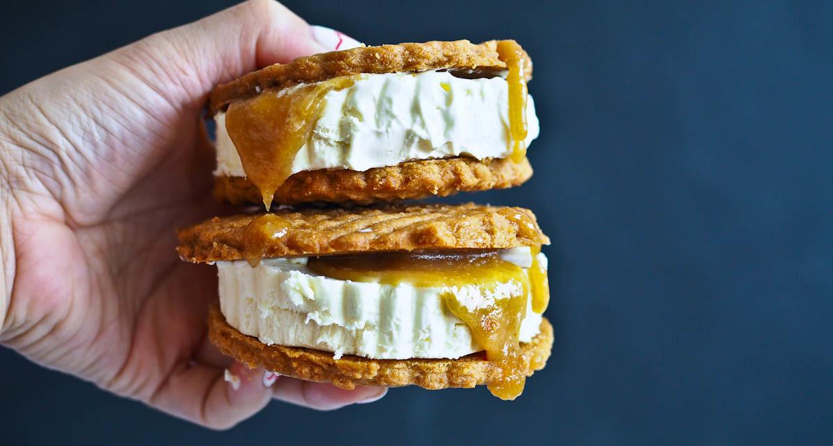 Crispy, Gooey, Creamy: Peanut Butter Salted Caramel Ice Cream Sandwiches