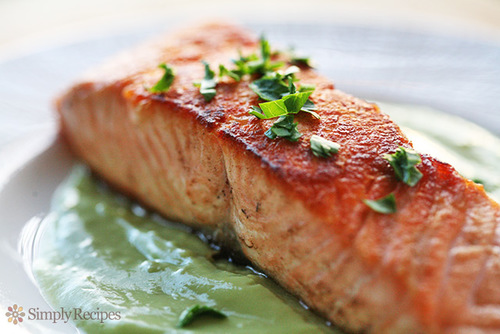 Pan seared salmon with avocado remoulade recipe simplyrecipes.com