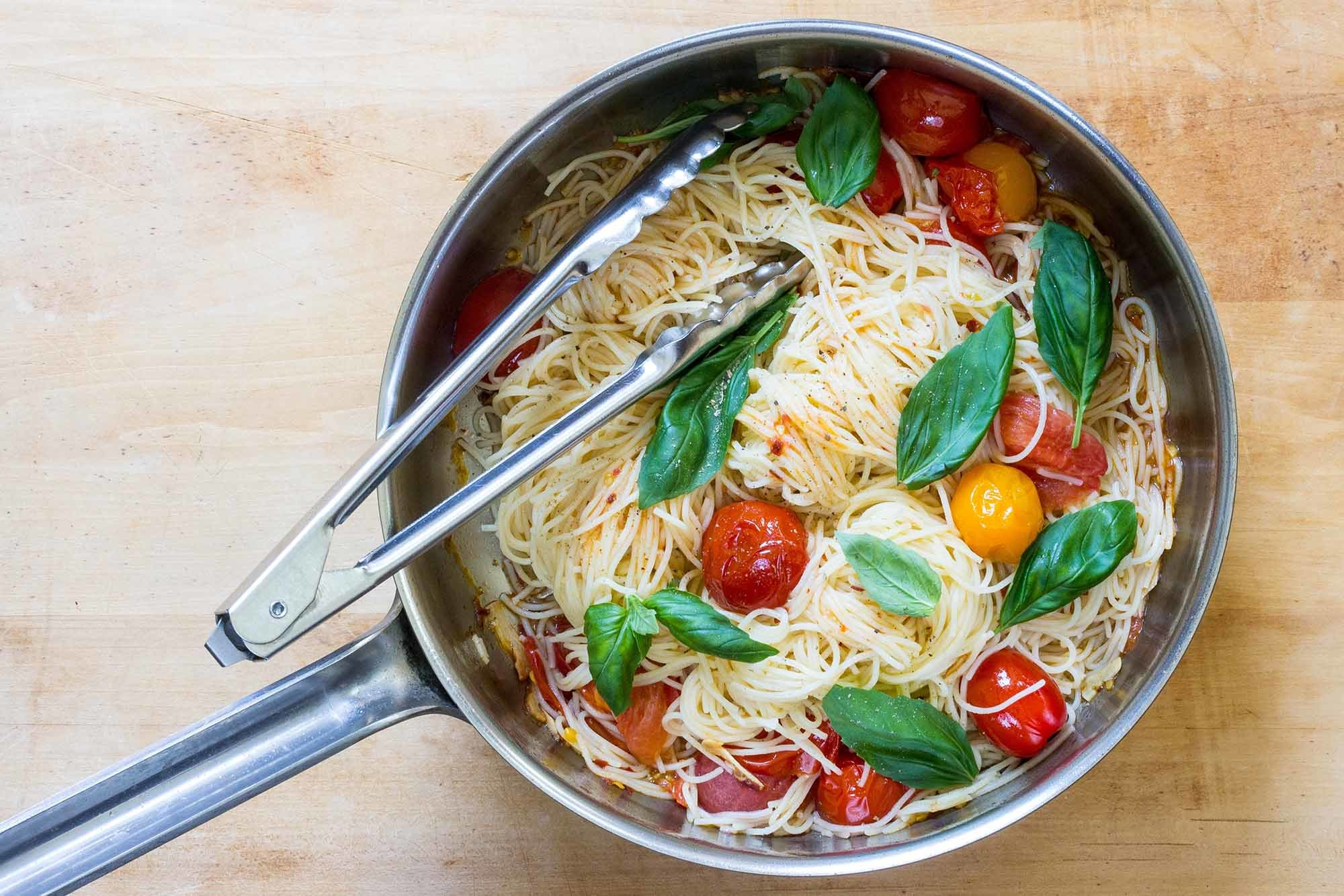 Angel Hair Pasta with Quick Cherry Tomato Sauce Recipe | SimplyRecipes.com