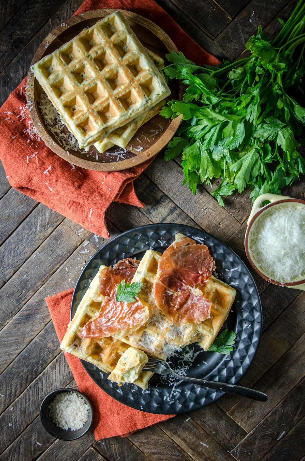 Parmesan and Parsley Savory Waffles | Chew Town Food Blog