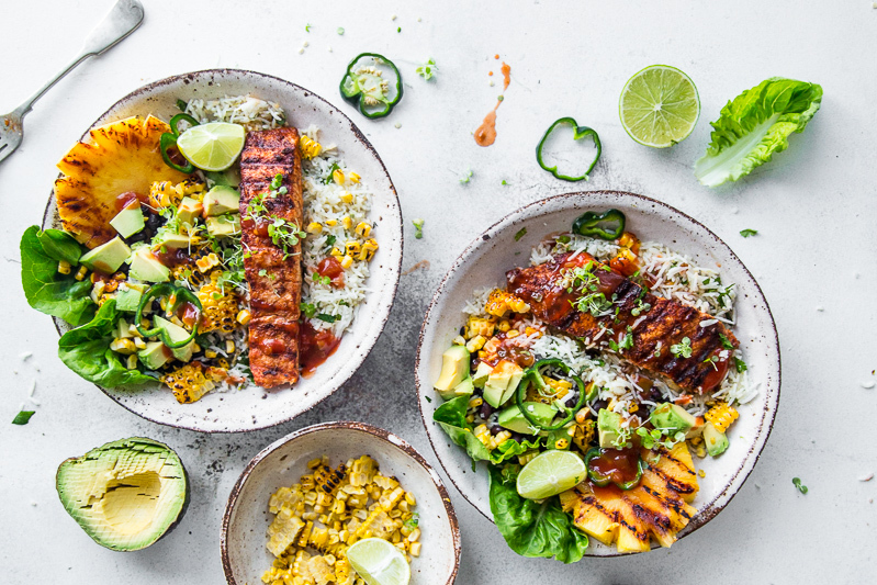 Fresh Crispy Salmon Burrito Bowls - Cook Republic
