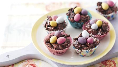 BBC Food - Recipes - Chocolate Easter egg nest cakes - The Cookery