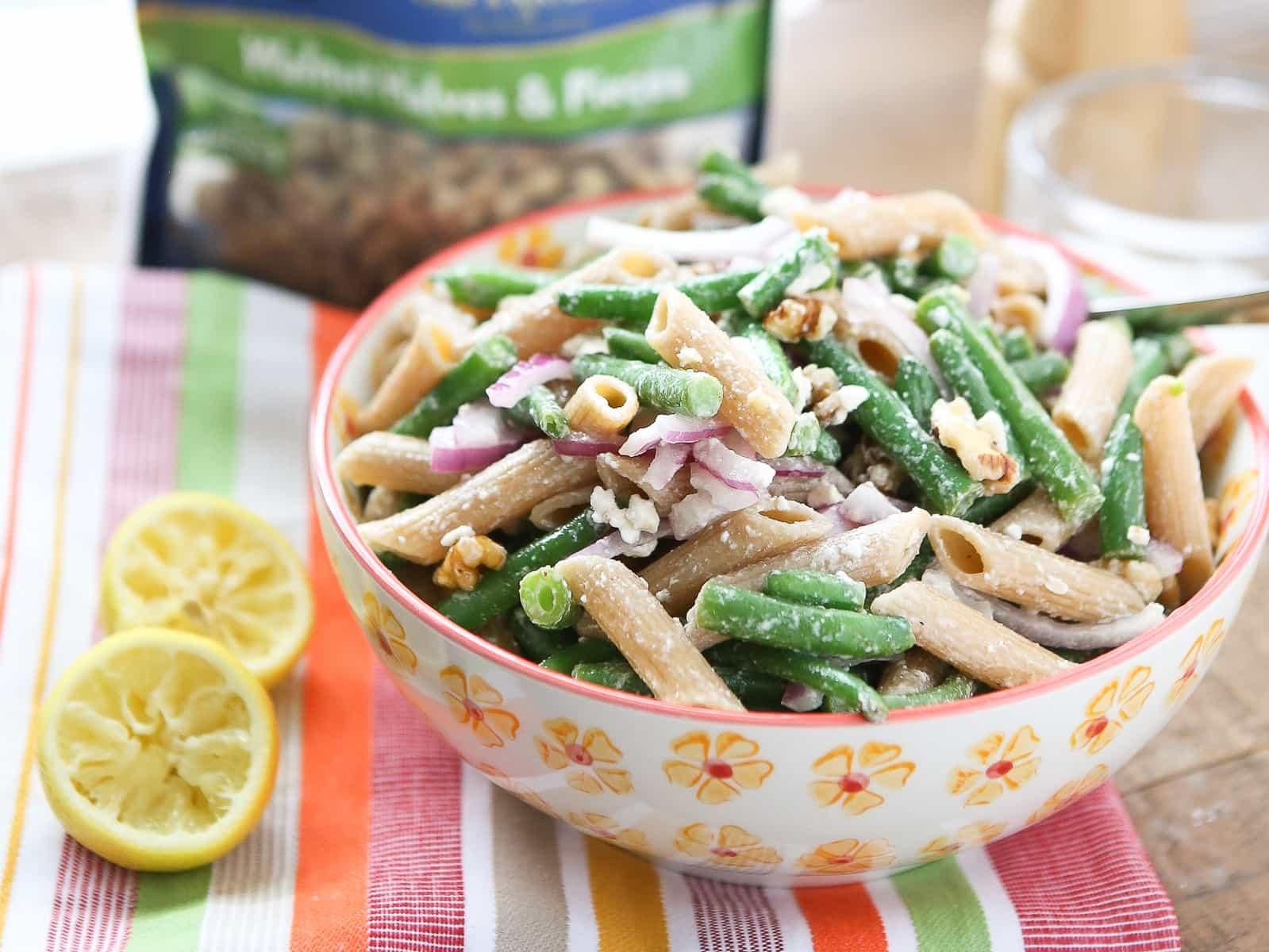 Lemony Green Bean Pasta Salad with Walnuts