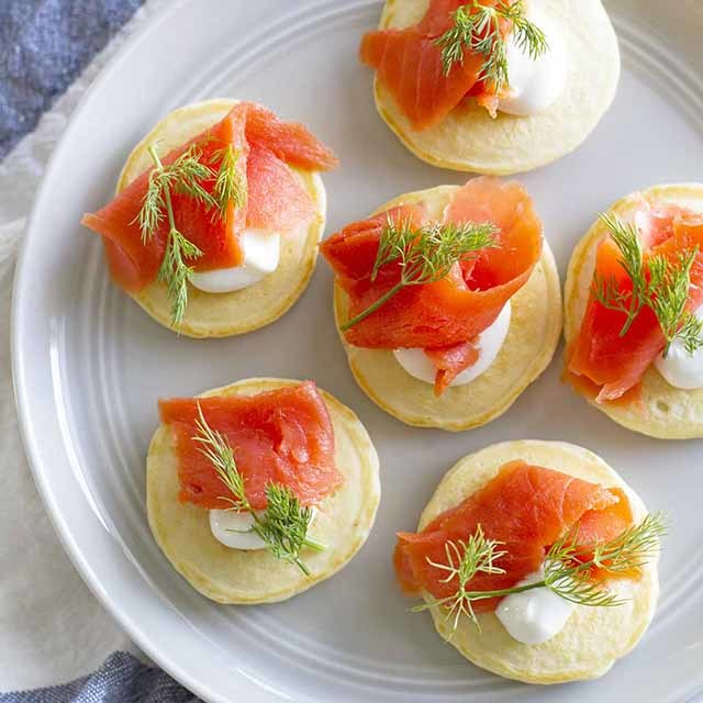 Mini Pancake Blini with Salmon and Dill | Girl Versus Dough