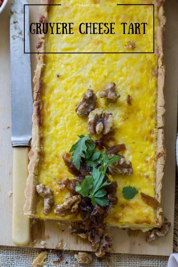 Gruyere Cheese Tart Marmalade onions | My Kitchen Stories