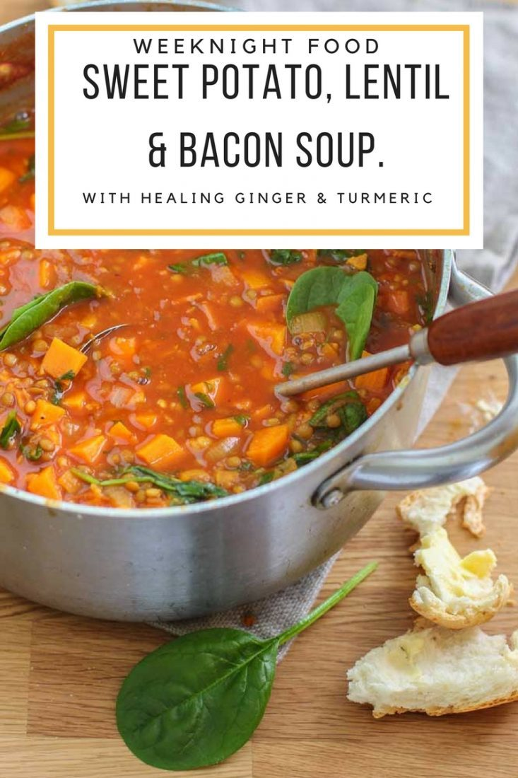 Sweet Potato Lentil Soup with Bacon | My Kitchen Stories