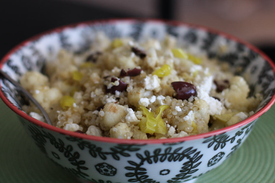 Grilled Cauliflower and Vidalia Onion Quinoa Salad