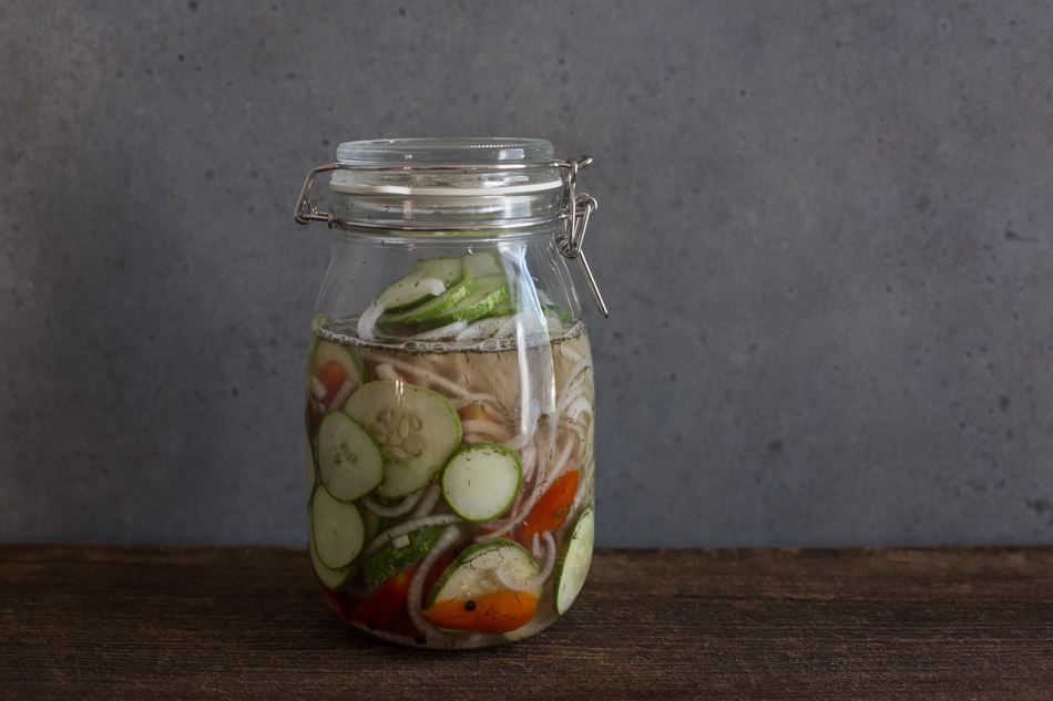 Quick Pickled Cucumber Tomato Salad | Fake Food Free