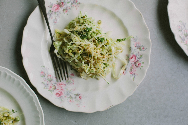 cabbage, coriander + sesame winter slaw
