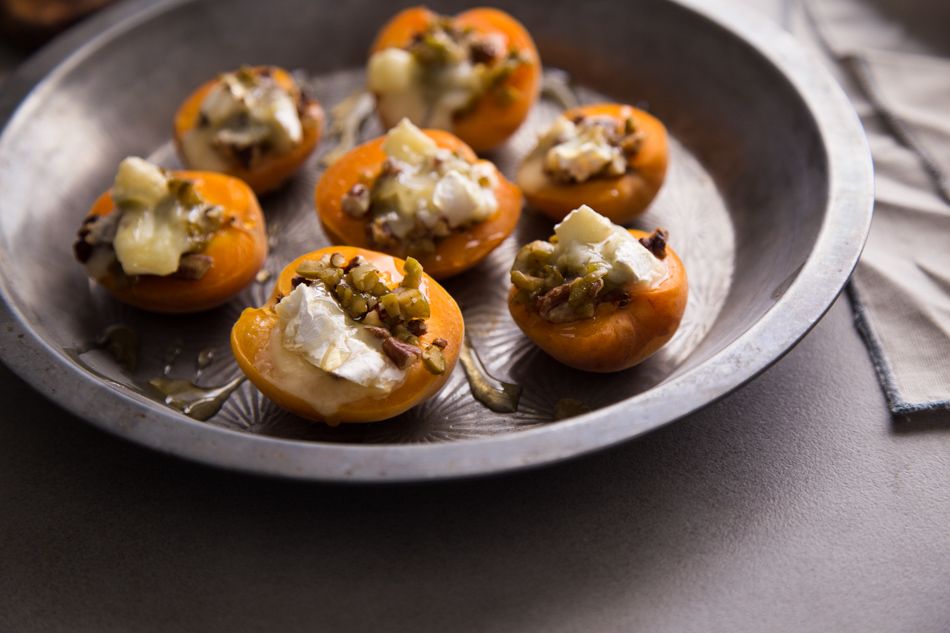Warm Stuffed Apricots with Green Olives, Pecans, and Brie | Fake Food Free