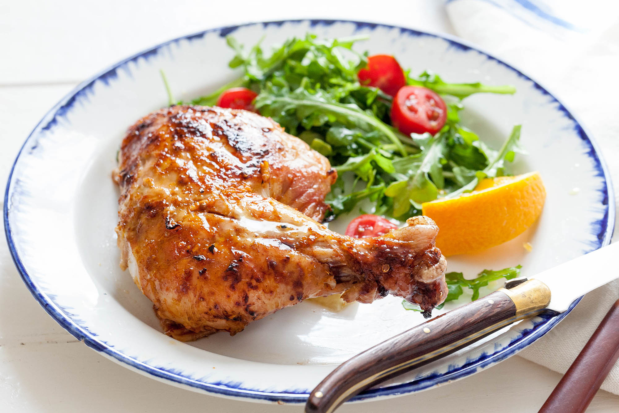 Spatchcocked Grilled Chicken with Orange and Ginger Recipe | SimplyRecipes.com