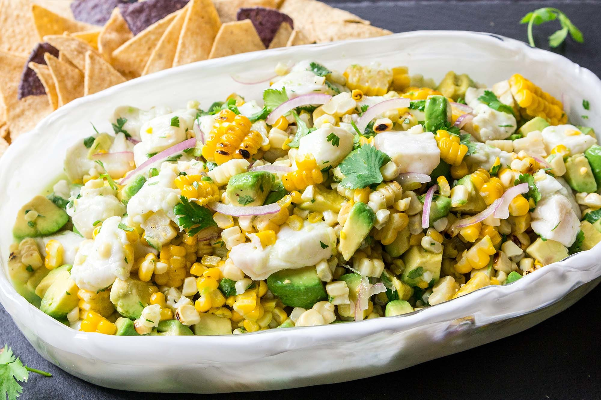 Ceviche with Avocado and Grilled Corn Recipe | SimplyRecipes.com