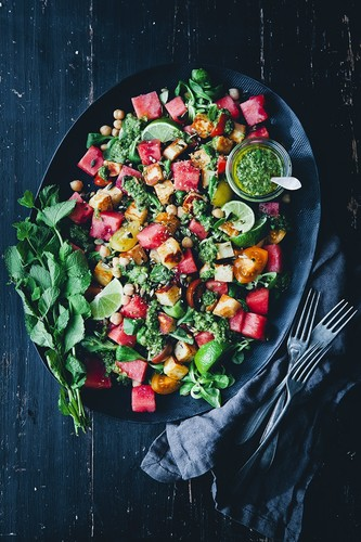 Watermelon halloumi salad with magic sauce