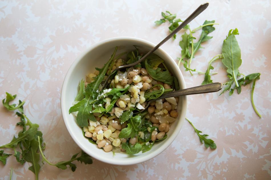 Corn White Bean Arugula Salad | Fake Food Free