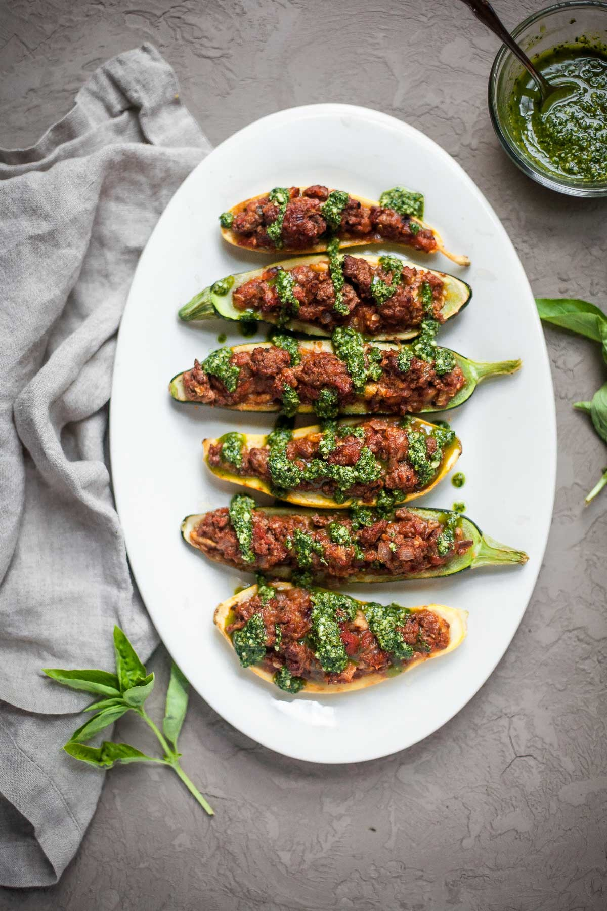 Bolognese Stuffed Zucchini with Pesto - A Calculated Whisk