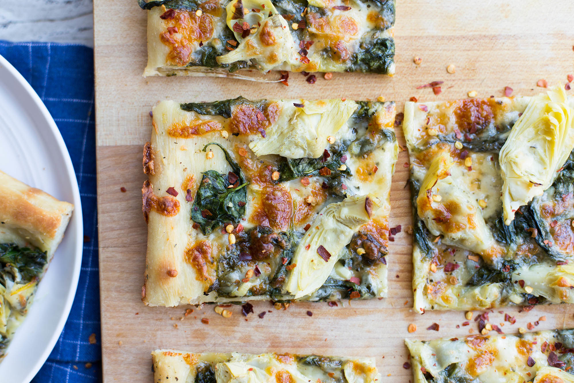 Spinach and Artichoke Sheet Pan Pizza | SimplyRecipes.com