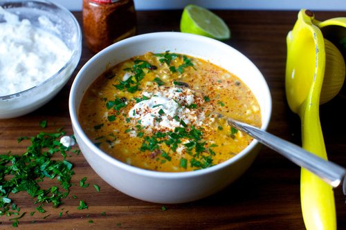 Corn chowder with chile lime and cotija