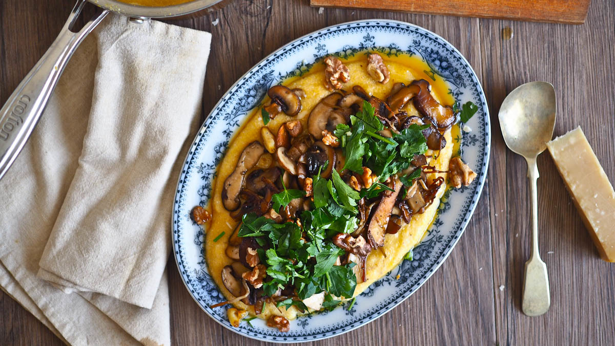 Creamed Cheesy Polenta and Crispy Browned Butter Mushrooms