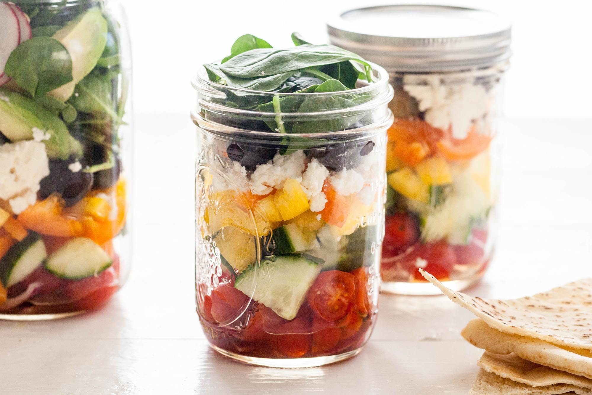 Greek Salad in Jars Recipe | SimplyRecipes.com