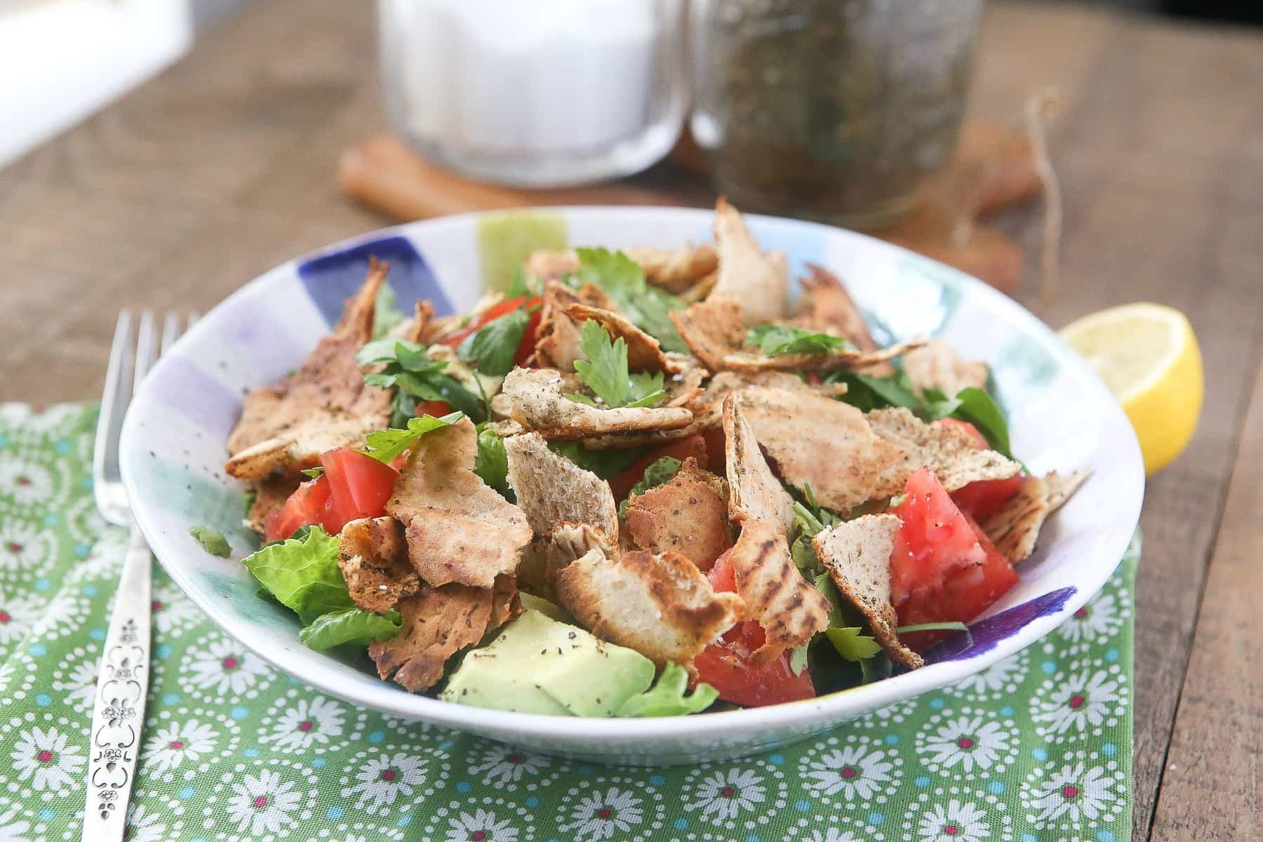 Fattoush - Lebanese Garden Salad with Toasted Pita Bread