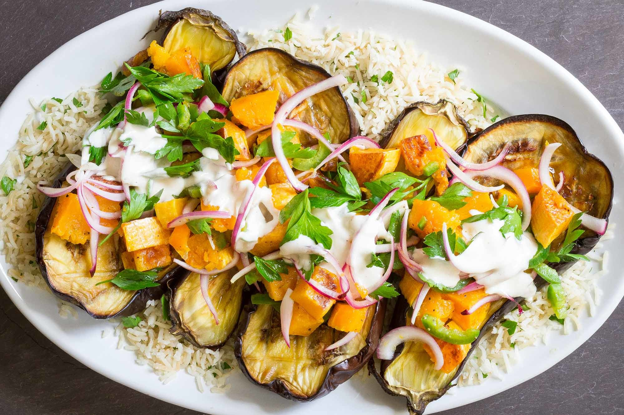 Roasted Eggplant and Butternut Squash with Tahini-Yogurt Sauce Recipe | SimplyRecipes.com