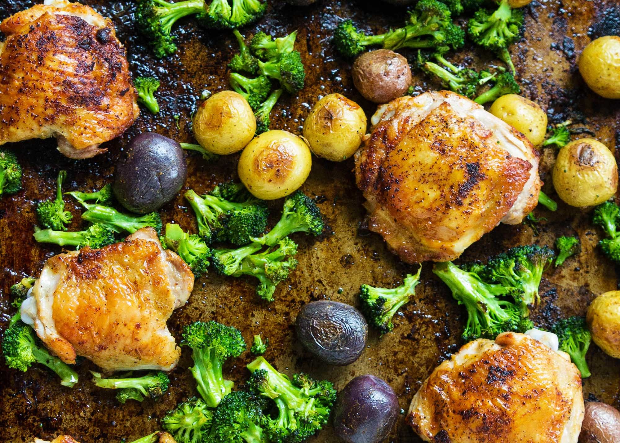 Sheet Pan Chicken with Roasted Broccoli and Potatoes Recipe | SimplyRecipes.com