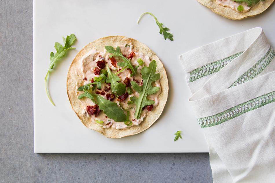 Arugula Sundried Tomato Tostadas | Fake Food Free